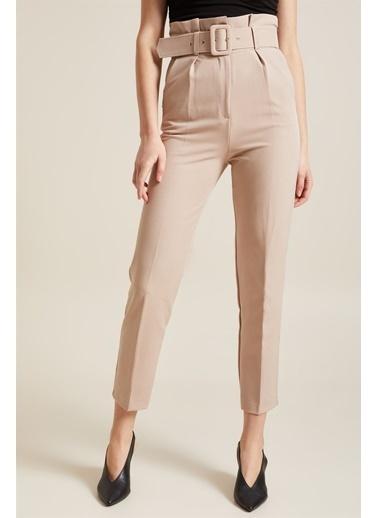 Z Giyim Kadın  Mavi  Kemerli Yüksek Bel Kumaş Pantolon Taş